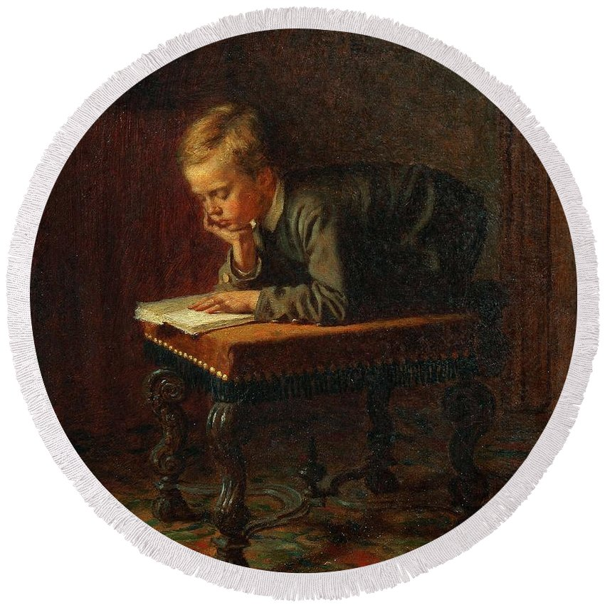Man Round Beach Towel featuring the painting Eastman Johnson - Reading Boy by Eastman Johnson