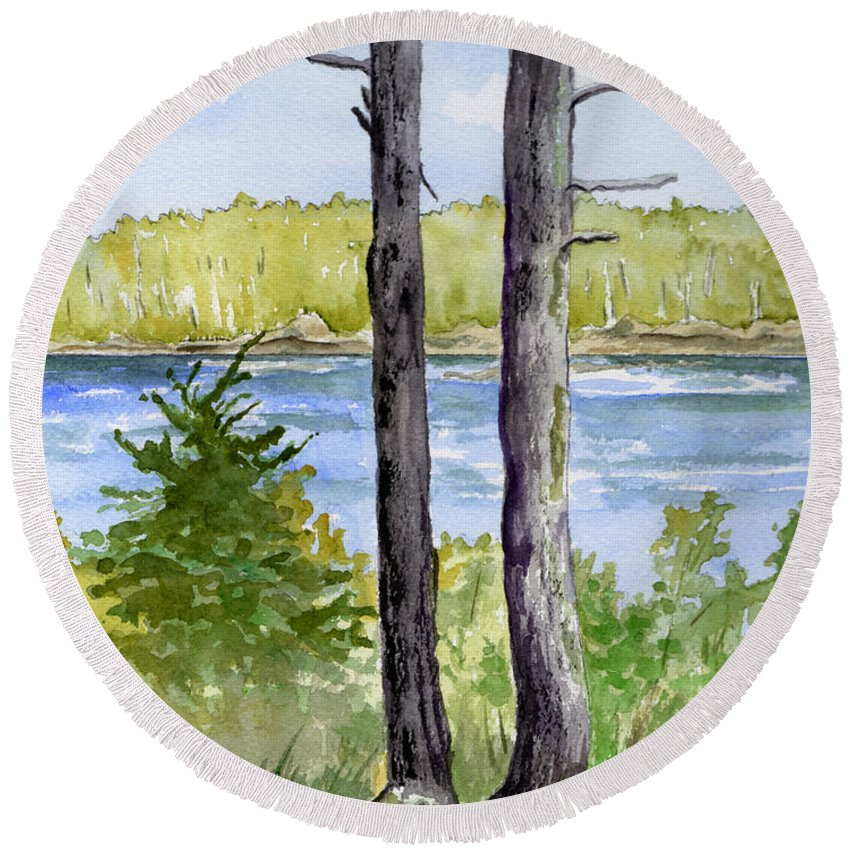 Landscape Seascape Trees Ocean Sea Maine Round Beach Towel featuring the painting Eastport Maine Coastal Afternoon by Brenda Owen