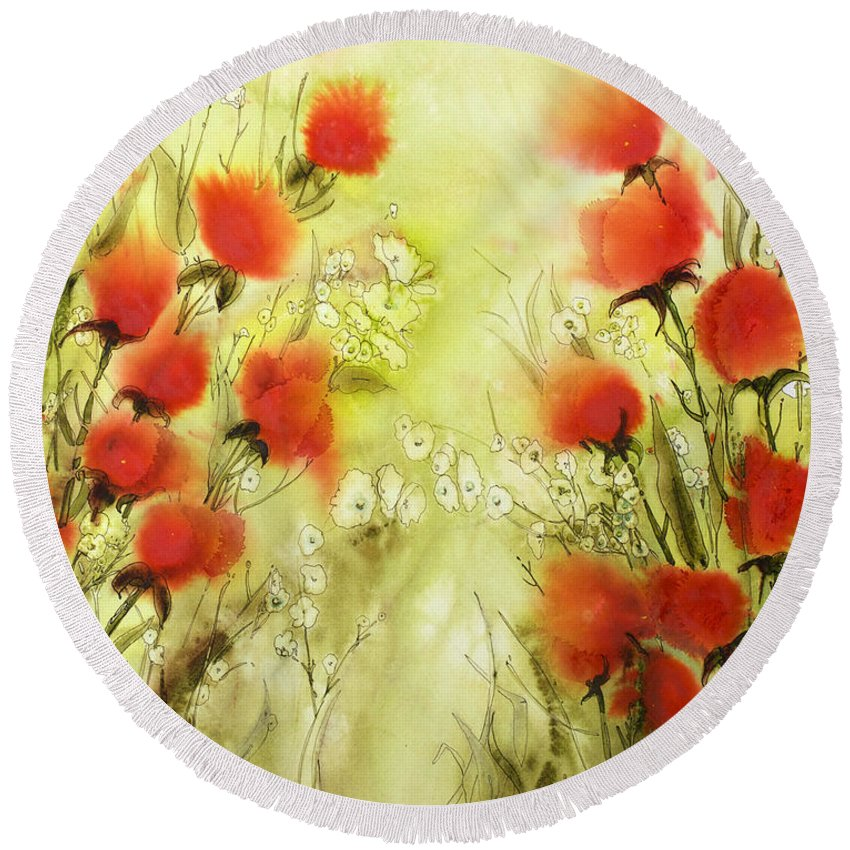 Floral Round Beach Towel featuring the painting Easy Life by Shirley Sykes Bracken