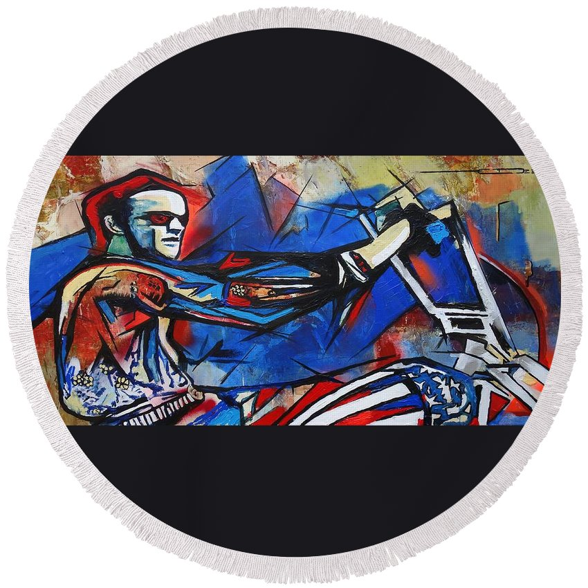 Peter Fonda Round Beach Towel featuring the painting Easy Rider Captain America by Eric Dee