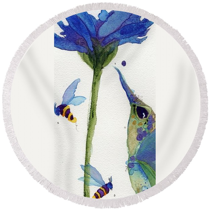 Bloom Round Beach Towel featuring the painting Eat Fresh I by Dawn Derman