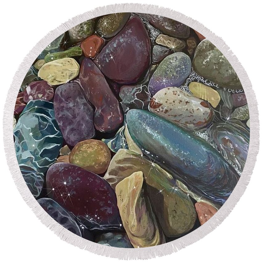 Stones Round Beach Towel featuring the painting Ebb Tide by Hunter Jay