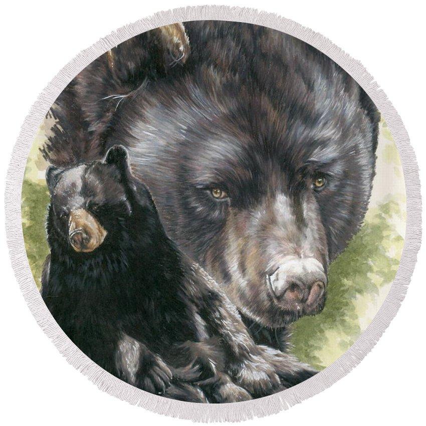 Black Bear Round Beach Towel featuring the mixed media Ebony by Barbara Keith