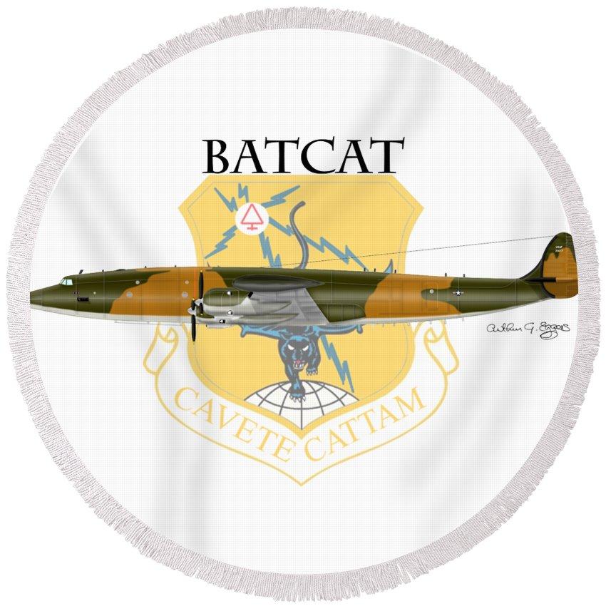 Ec-121r Round Beach Towel featuring the digital art Ec-121r Batcatcavete by Arthur Eggers