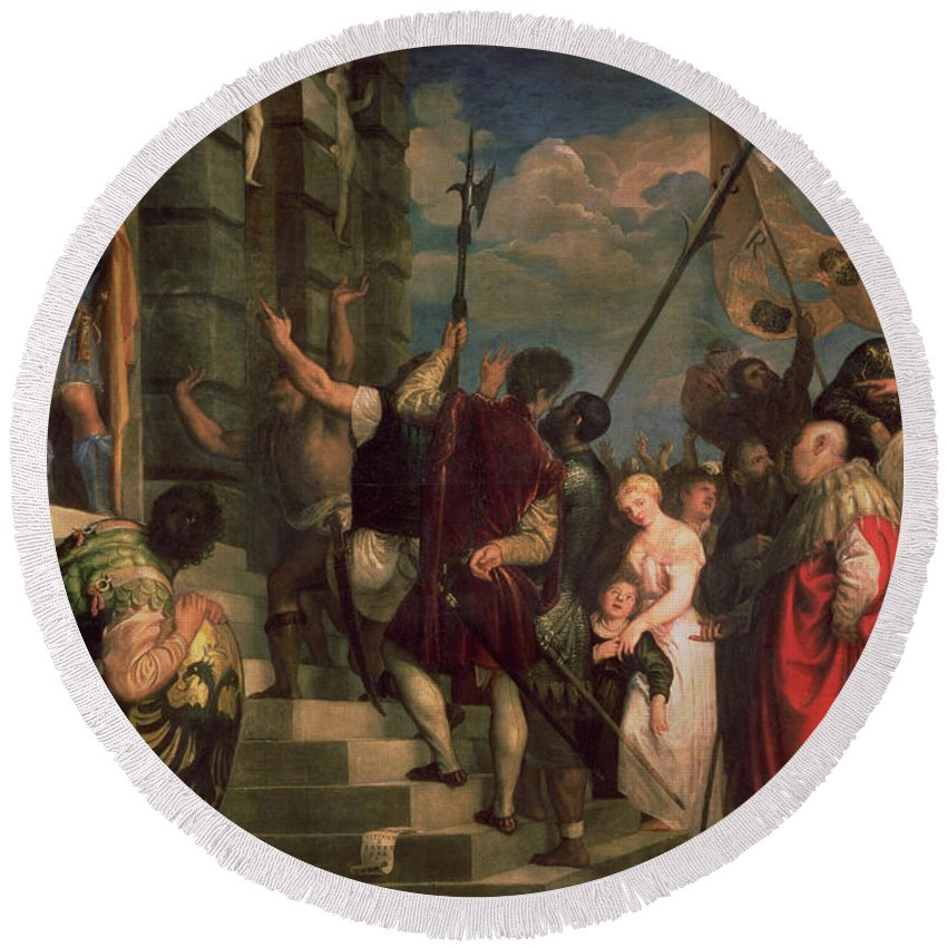 Titian Round Beach Towel featuring the painting Ecce Homo, 1543 by Titian