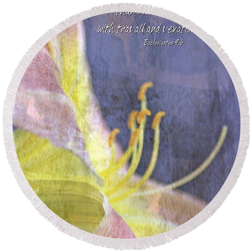 Jesus Round Beach Towel featuring the digital art Ecclesiastes 9 6 by Michelle Greene Wheeler