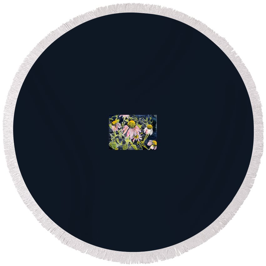 Echinacea Round Beach Towel featuring the painting Echinacea Coneflower 2 by Derek Mccrea