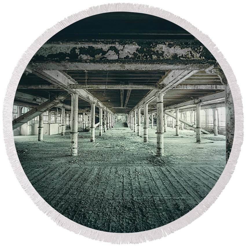 Abandoned Round Beach Towel featuring the photograph Echo From The Past by Svetlana Sewell