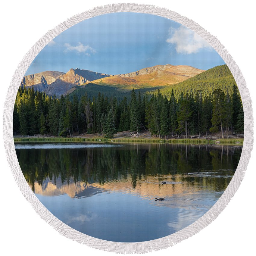 Mount Evans Round Beach Towel featuring the mixed media Echo Lake 6 by Angelina Vick