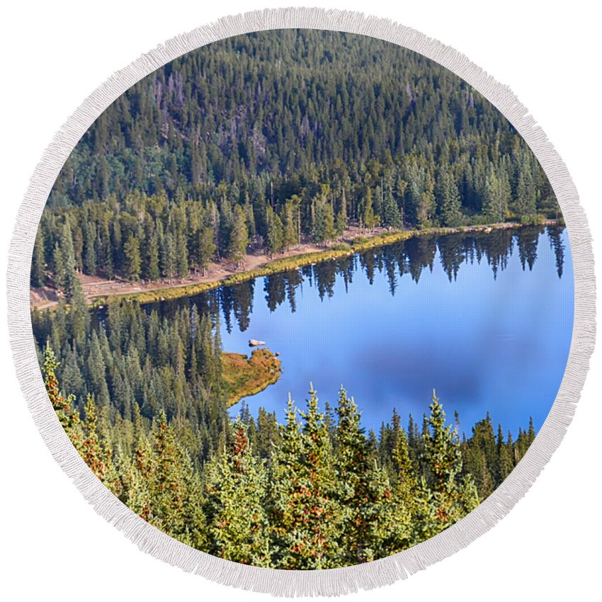 Mount Evans Round Beach Towel featuring the photograph Echo Lake 7 by Angelina Vick