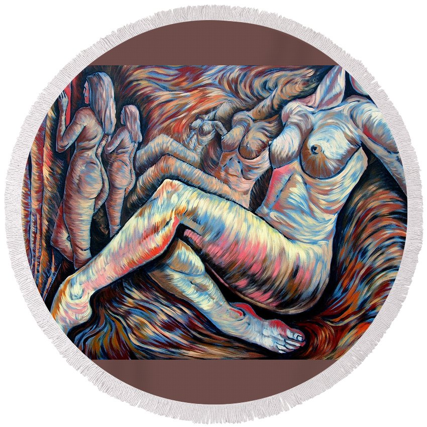 Surrealism Round Beach Towel featuring the painting Echo Of A Nude Gesture II by Darwin Leon