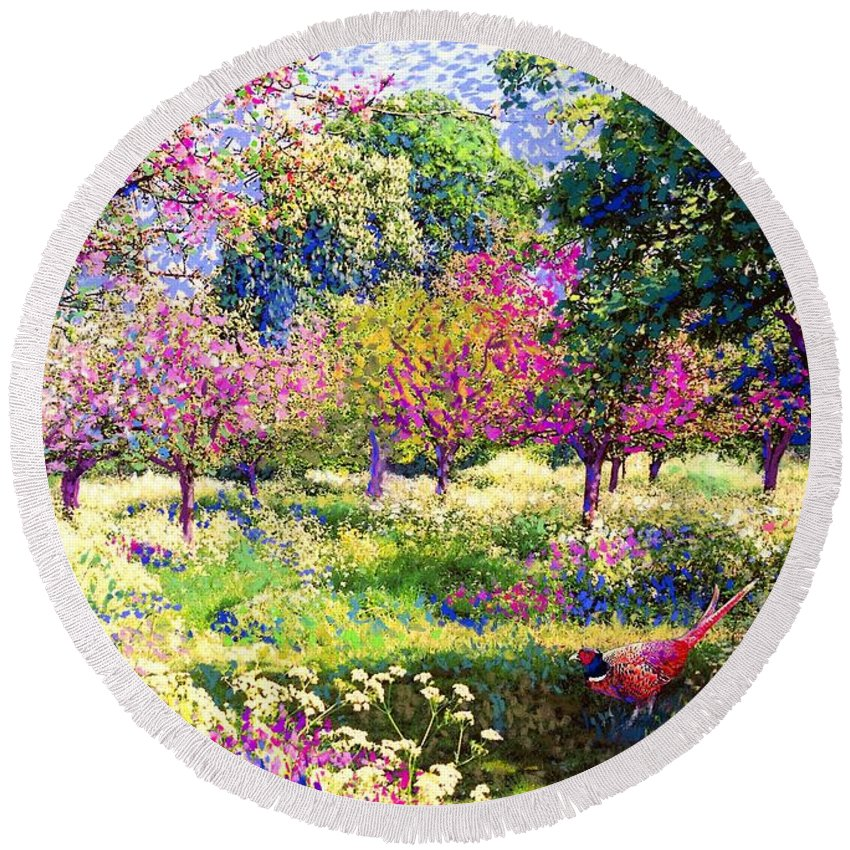Wildflower Round Beach Towel featuring the painting Echoes From Heaven, Spring Orchard Blossom And Pheasant by Jane Small