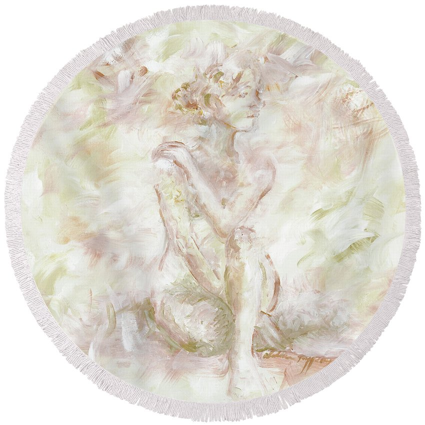 Nude Round Beach Towel featuring the painting Echoes by Nadine Rippelmeyer