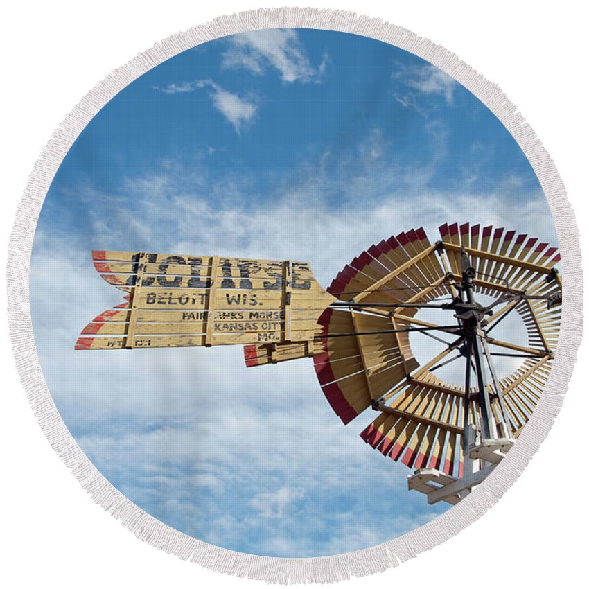 Windmill Round Beach Towel featuring the photograph Eclipse by David Arment