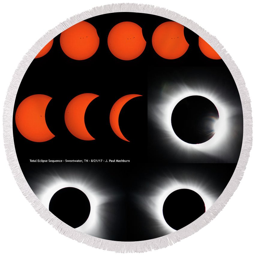 Eclipse Round Beach Towel featuring the photograph Eclipse Sequence by Paul Mashburn