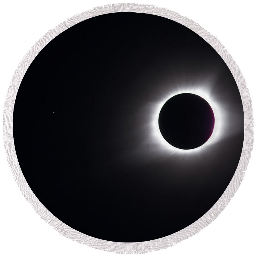 Eclipse Round Beach Towel featuring the photograph Eclipse Totality And Regulus by Paul Rebmann