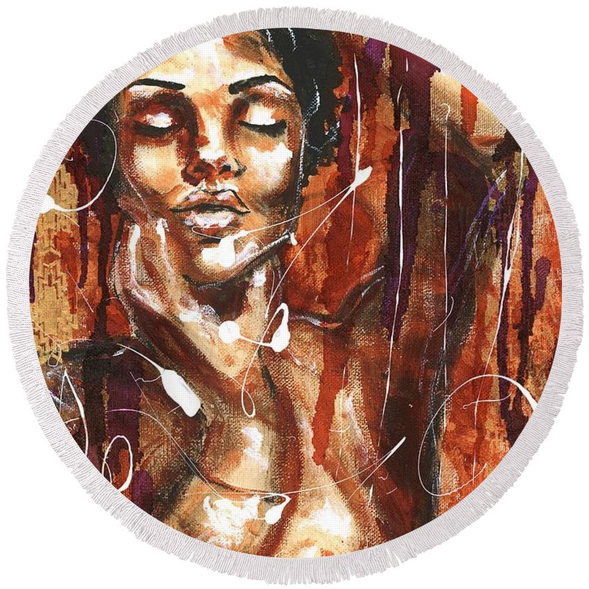 Woman Round Beach Towel featuring the painting Ecstacy by Alga Washington