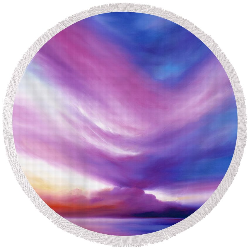 Clouds Round Beach Towel featuring the painting Ecstacy by James Christopher Hill