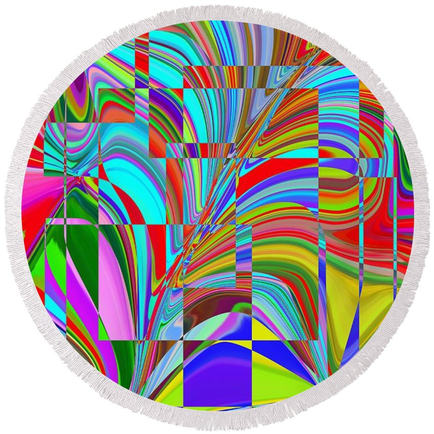 Abstract Round Beach Towel featuring the digital art Ecstasy by Tim Allen
