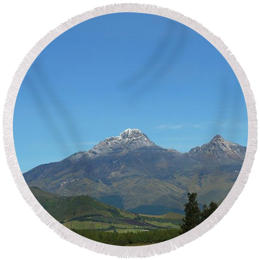 Mountains Round Beach Towel featuring the photograph Ecuador by FL collection