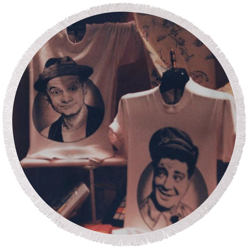The Honeymooners Round Beach Towel featuring the photograph Ed And Ralphie Boy by Rob Hans
