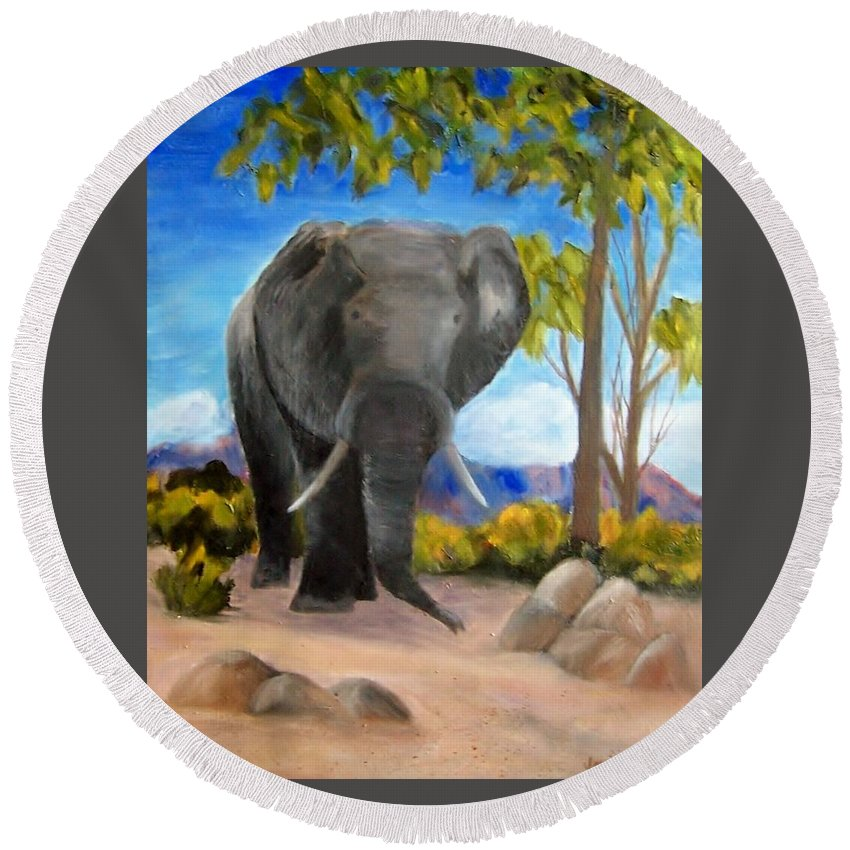 Elephant Round Beach Towel featuring the painting Eddy Elephant by Jamie Frier