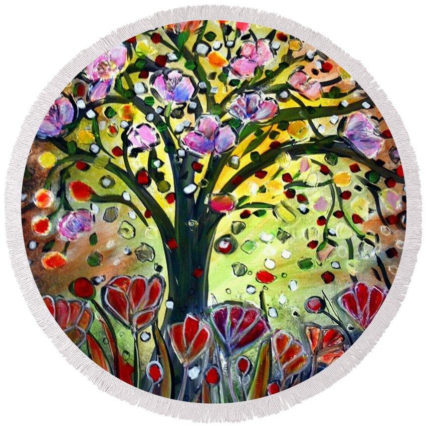 Flowers Round Beach Towel featuring the painting Eden Garden by Luiza Vizoli