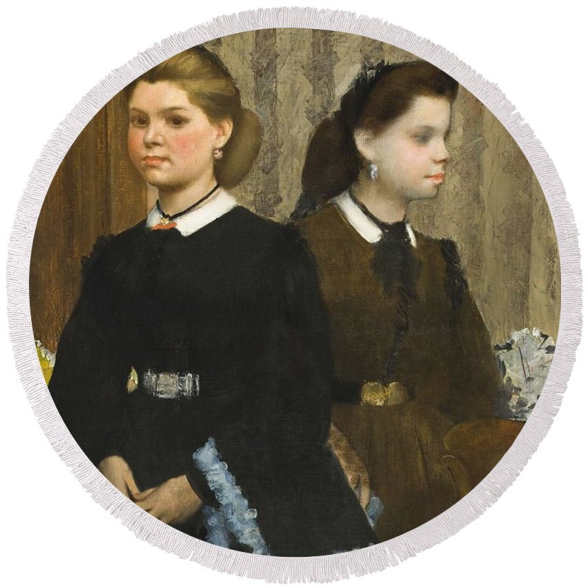 Girl Round Beach Towel featuring the painting Edgar Degas - The Bellelli Sisters Giovanna And Giuliana Bellelli by Edgar Dega