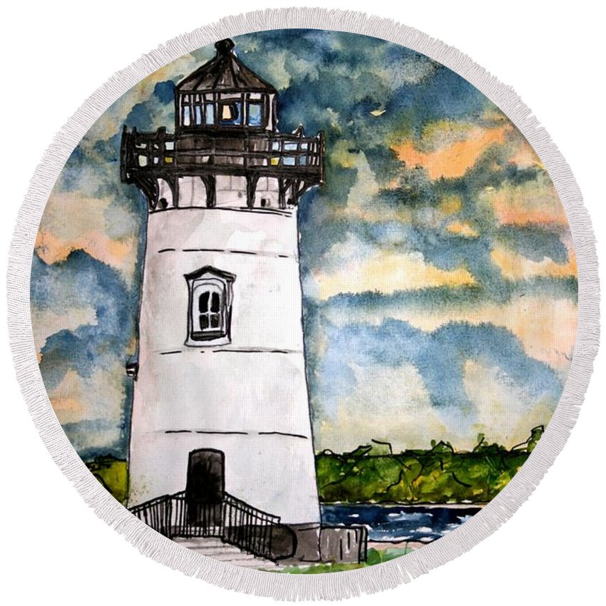 Lighthouse Round Beach Towel featuring the painting Edgartown Lighthouse Martha's Vineyard Mass by Derek Mccrea