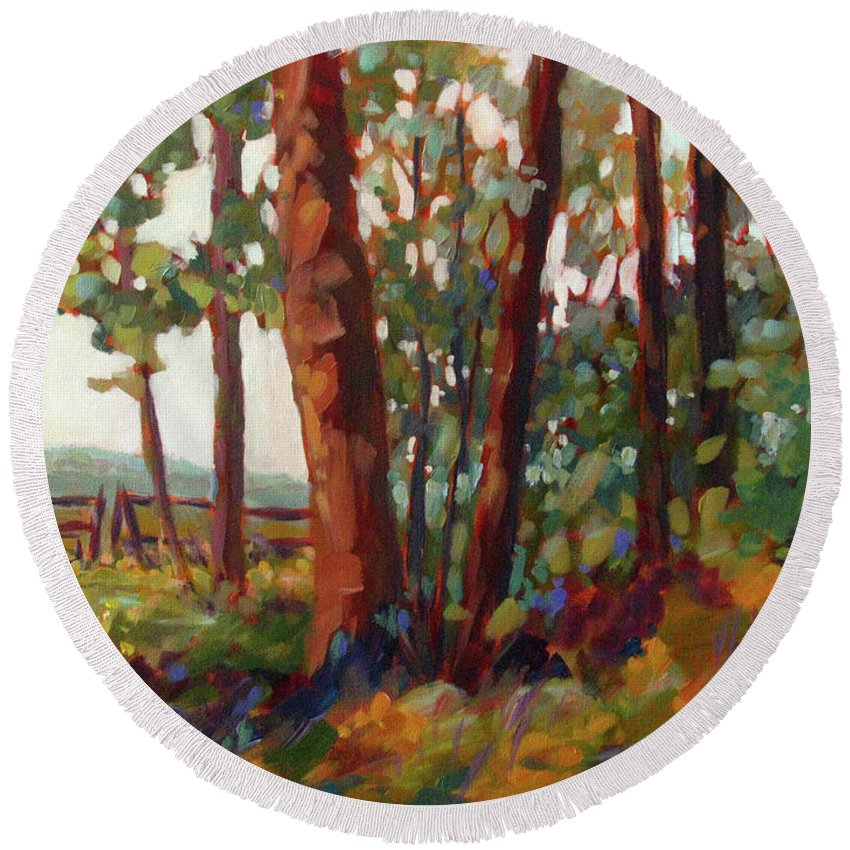 Woods Round Beach Towel featuring the painting Edge Of The Field by Melissa Gannon
