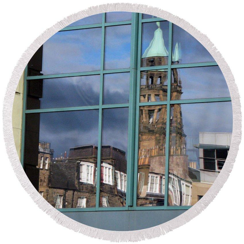 Reflection Round Beach Towel featuring the photograph Edinburgh Self Interpreted by Amanda Barcon