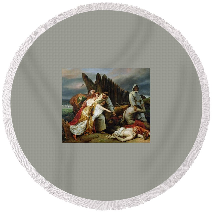 Religion Round Beach Towel featuring the digital art Edith Finding The Body Of Harold Horace Vernet by Eloisa Mannion