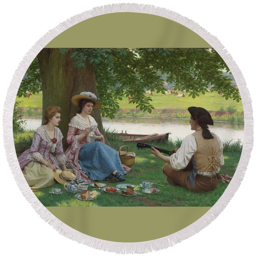 Girl Round Beach Towel featuring the painting Edmund Blair Leighton 1852-1922 A Picnic Party by Edmund Blair Leighton