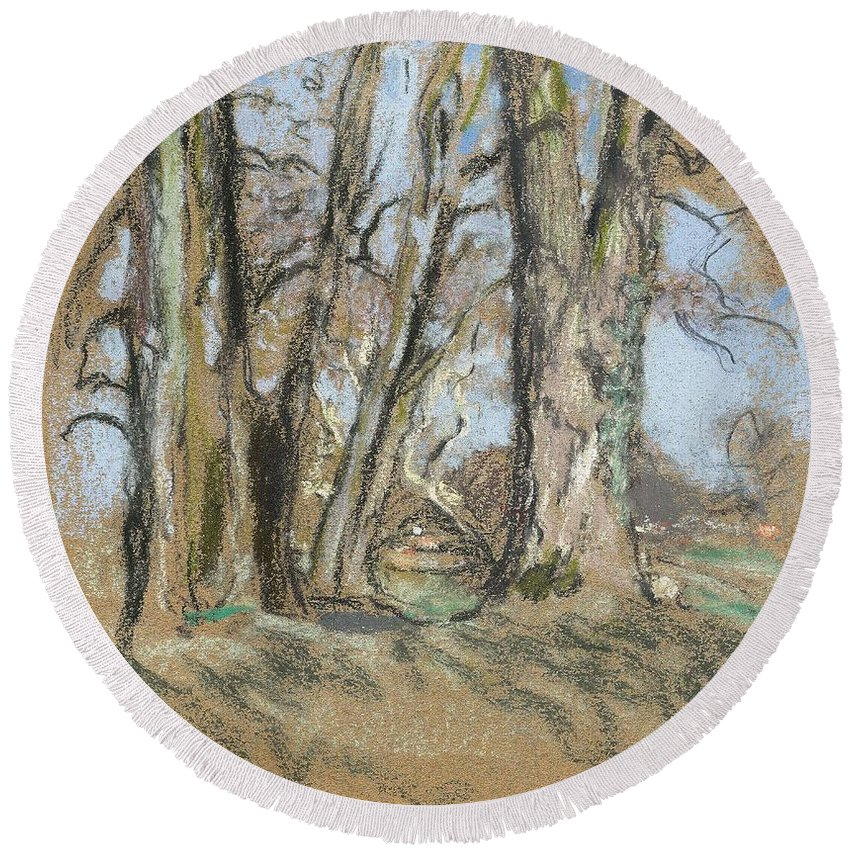 Nature Round Beach Towel featuring the painting Edouard Vuillard Cuiseaux 1868-1940 La Baule The Park In Clayes. 1932-1938. by Edouard Vuillard