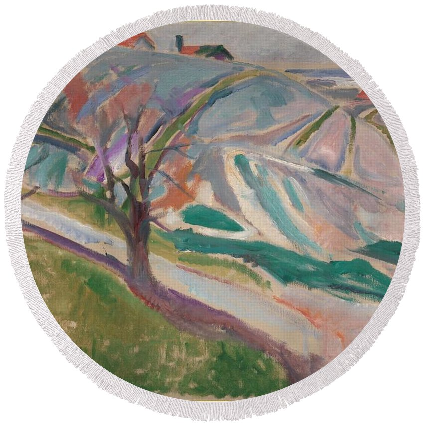 Art Round Beach Towel featuring the painting Edvard Munch , Landscape, Kragero by Edvard Munch