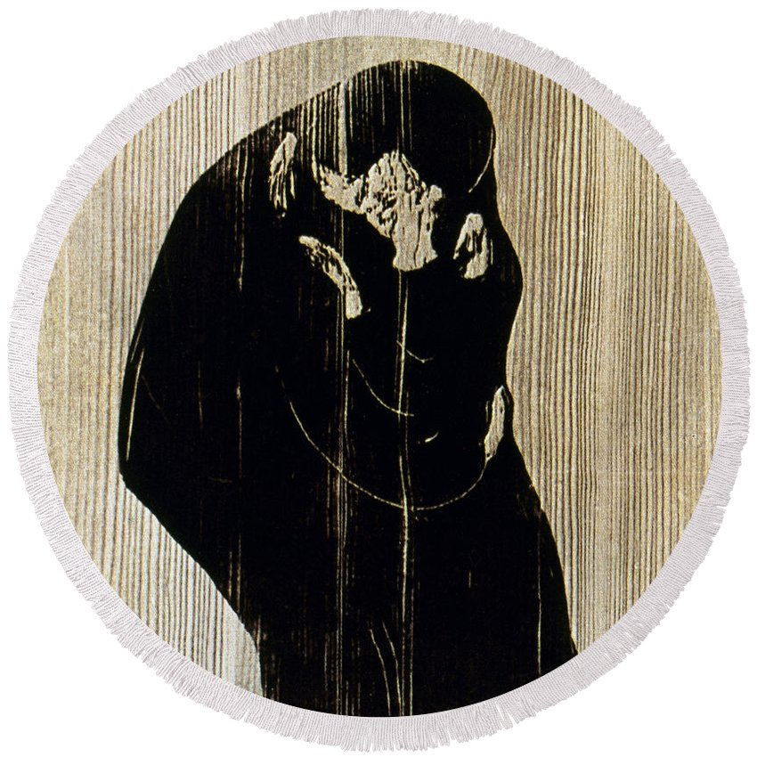 1897 Round Beach Towel featuring the photograph Edvard Munch: The Kiss by Granger