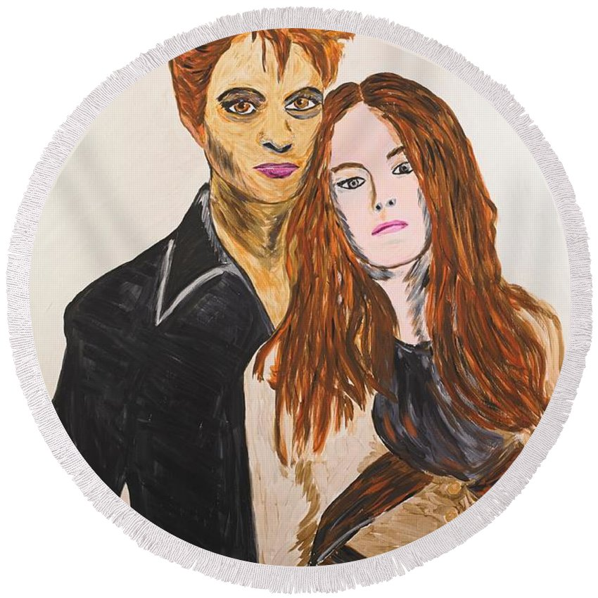 Edward Round Beach Towel featuring the painting Edward And Bella by Valerie Ornstein