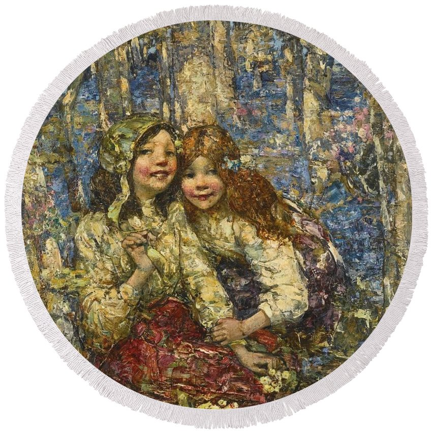 Girl Round Beach Towel featuring the painting Edward Atkinson Hornel 1864-1933 The Bluebell Wood by Edward Atkinson Hornel