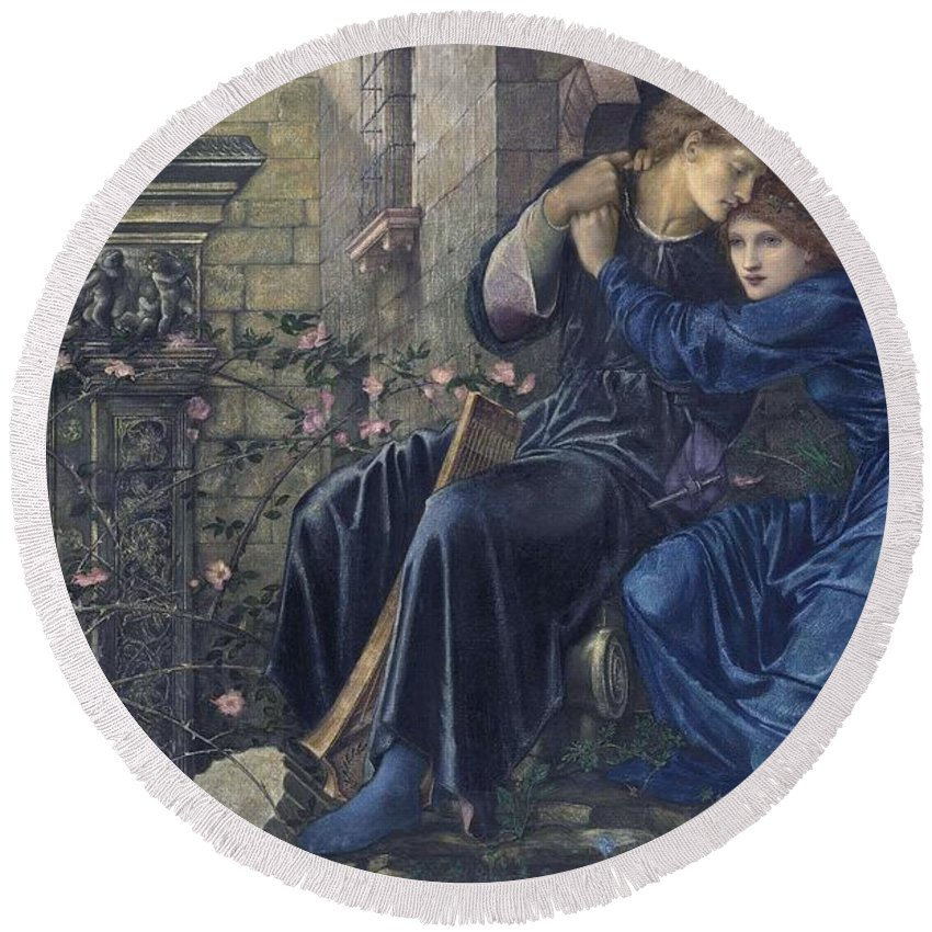 Girl Round Beach Towel featuring the painting Edward Burne-jones, Love Among The Ruins, 1894 by Edward Burne-Jones
