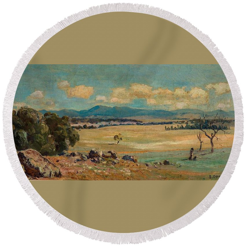 Nature Round Beach Towel featuring the painting Edward Cairns Officer 1871-1921 Landscape by Edward Cairns Officer