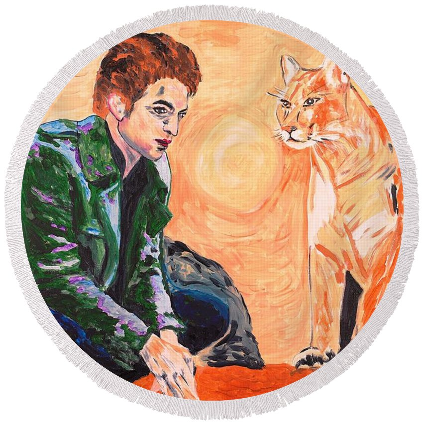 Edward Round Beach Towel featuring the painting Edward Cullen And His Diet by Valerie Ornstein