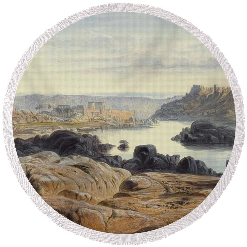 Nature Round Beach Towel featuring the painting Edward Lear 1812 - 1888 British Philae by Edward Lear