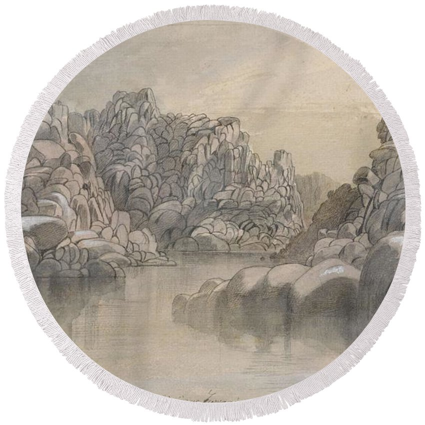 Winter Round Beach Towel featuring the painting Edward Lear - River Pass Between Semi Barren Rock Cliffs by Edward Lear