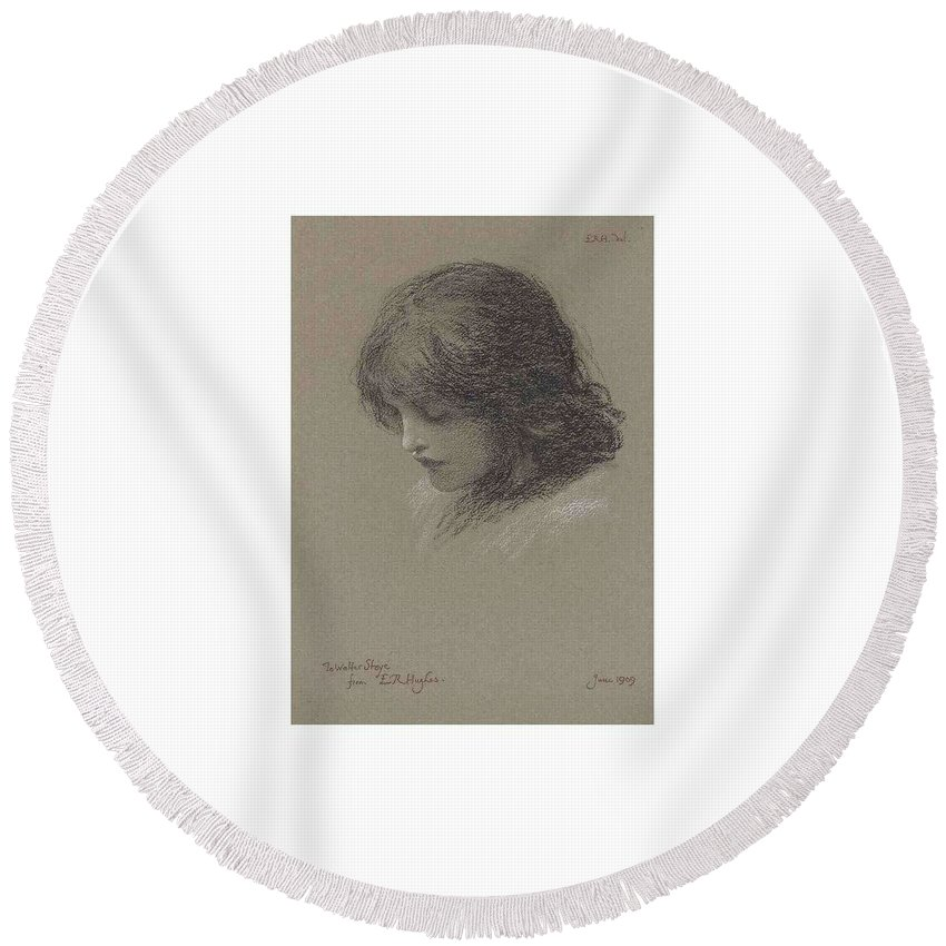 Girl Round Beach Towel featuring the painting Edward Robert Hughes, R.w.s. 1851-1914 Head Study Of A Young Girl, Looking Downwards by Edward Robert Hughes