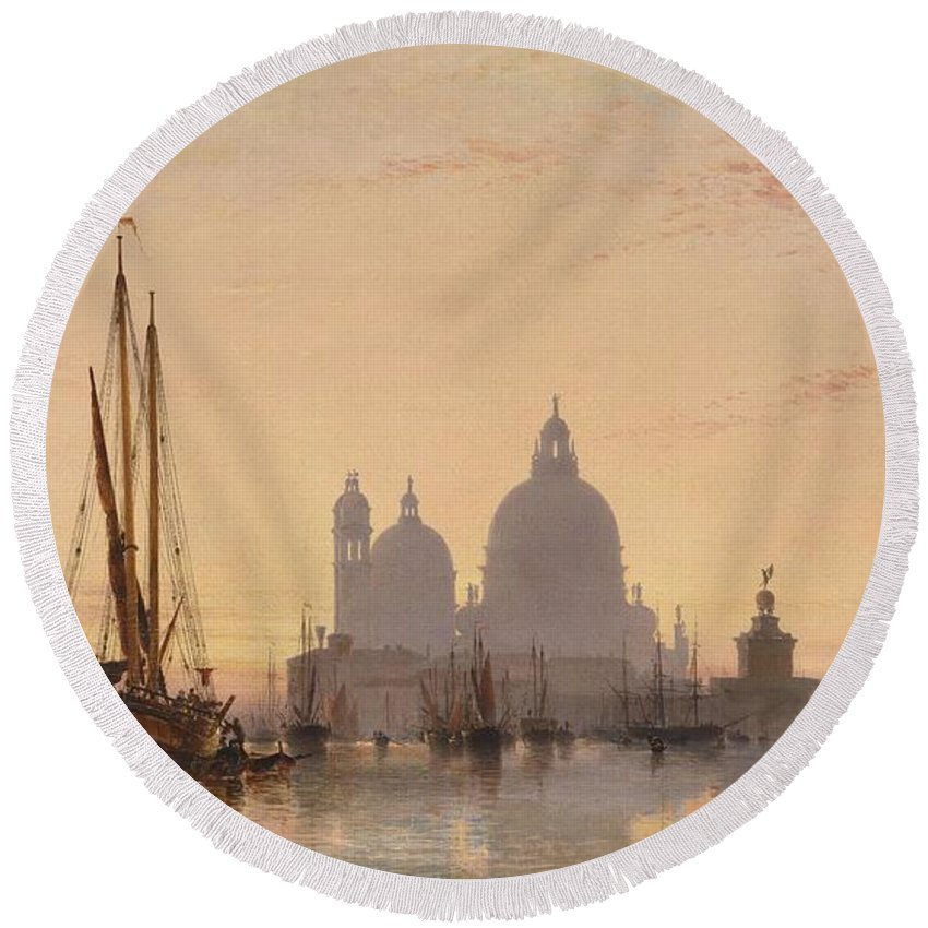 Nature Round Beach Towel featuring the painting Edward William Cooke Venezia 1851 by Edward William
