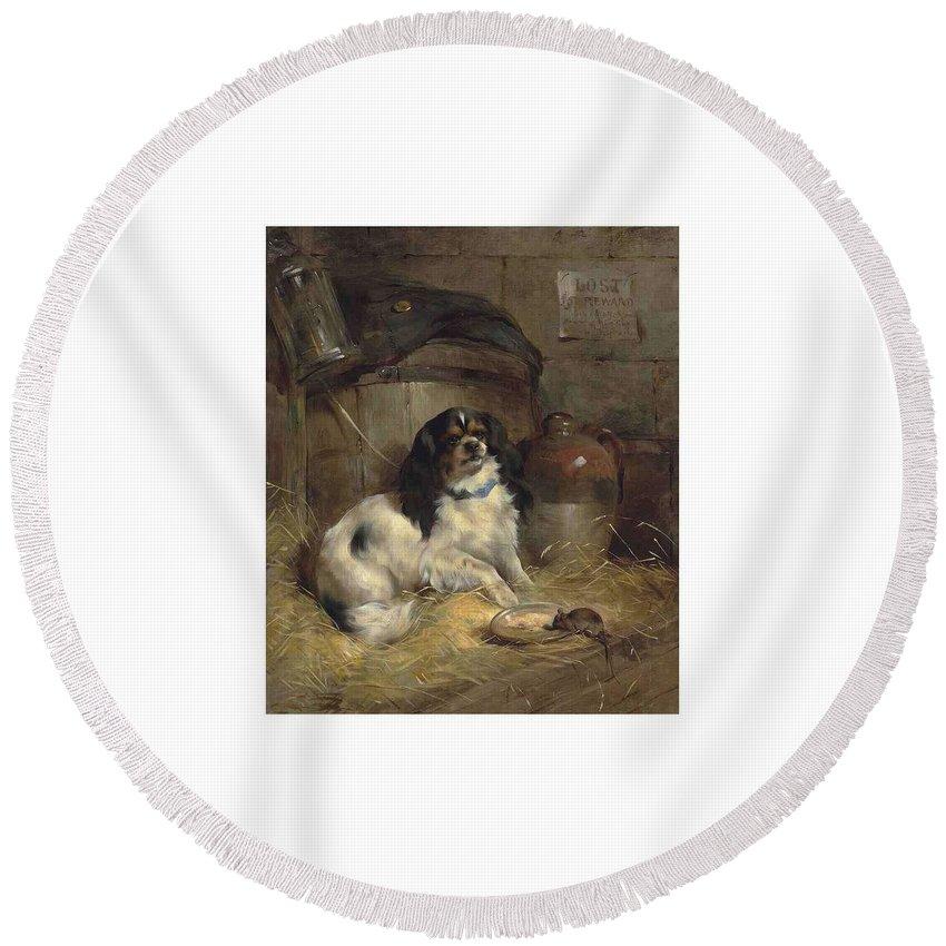 Art Round Beach Towel featuring the painting Edwin Douglas 1848-1914 A Cavalier King Charles Spaniel by Edwin Douglas