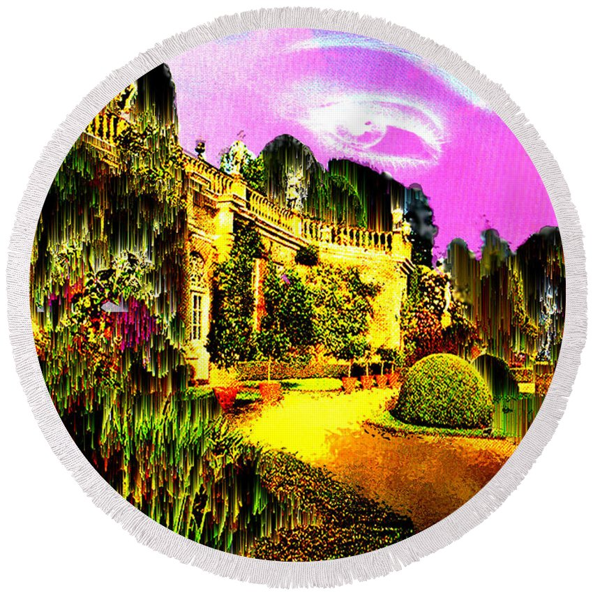 Mansion Round Beach Towel featuring the digital art Eerie Estate by Seth Weaver
