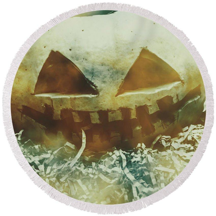 Pumpkin Round Beach Towel featuring the photograph Eerie Ghoulish Halloween Pumpkin Head by Jorgo Photography - Wall Art Gallery