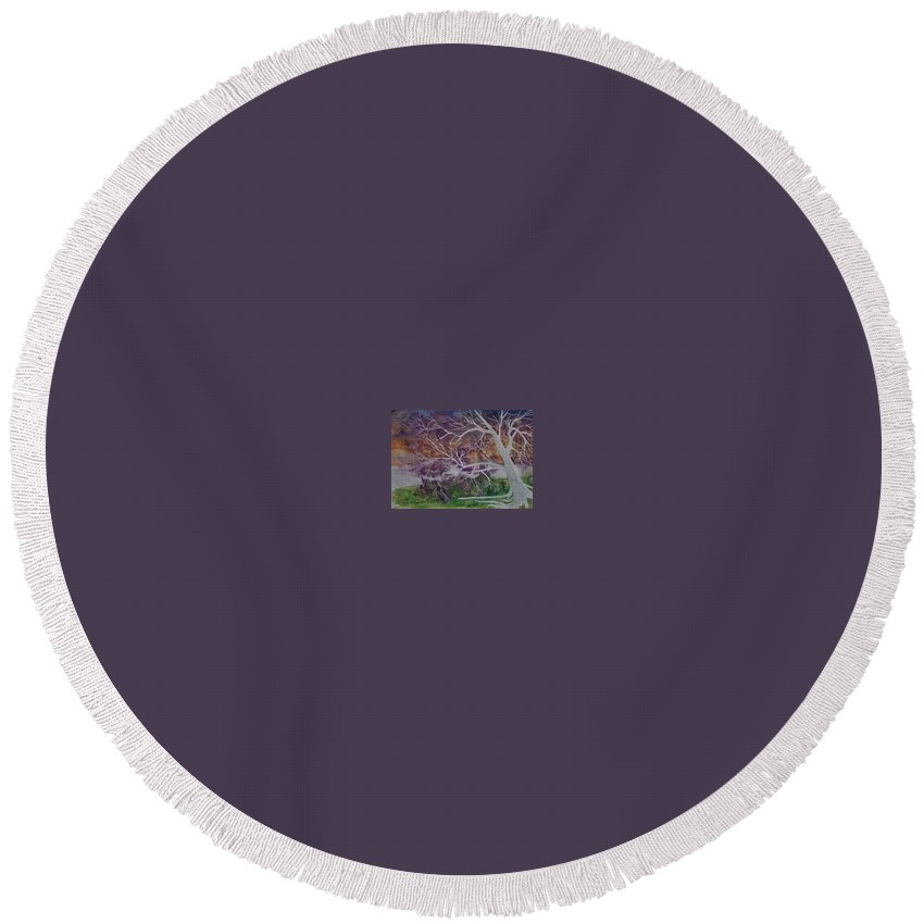 Watercolor Round Beach Towel featuring the painting Eerie Gothic Landscape Fine Art Surreal Print by Derek Mccrea