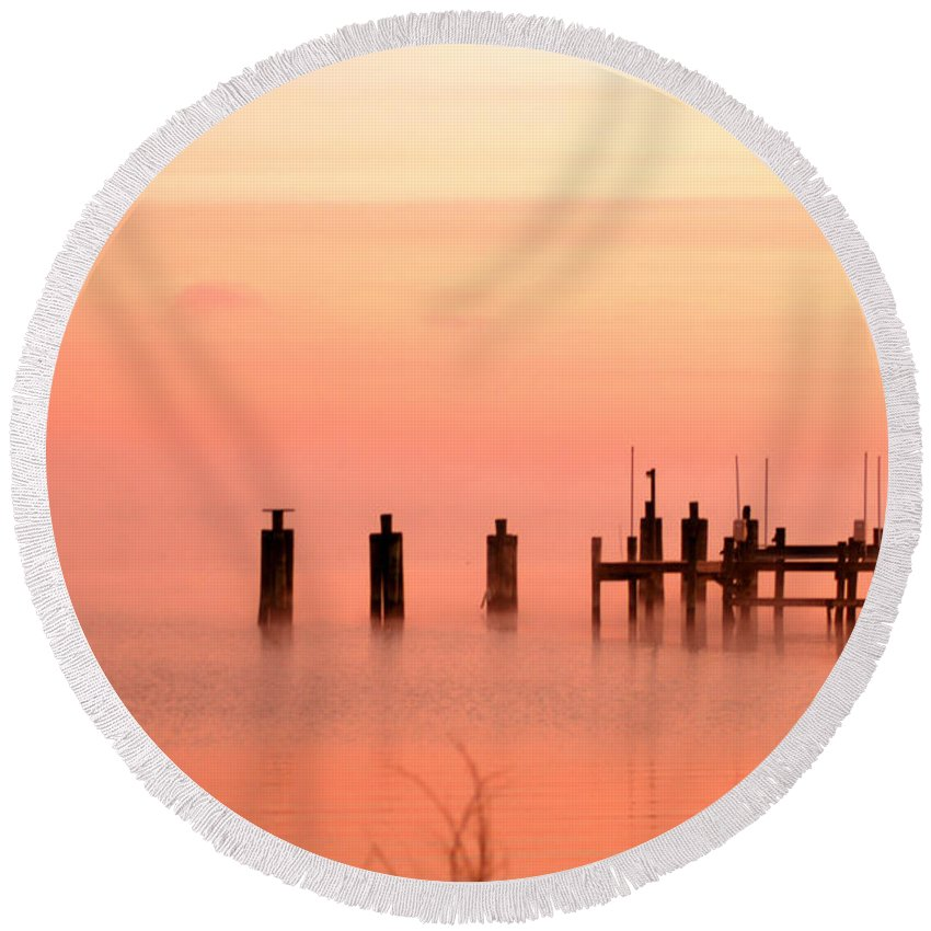 Clay Round Beach Towel featuring the photograph Eery Morn by Clayton Bruster
